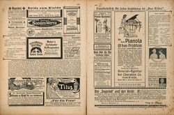 Newspaper page with retro advertising. Vintage engraved illustration. German magazine from 1904