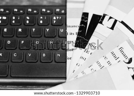 Newspaper Pages with Headlines and Articls and Computer Keyboard. Creating News, Journalism Concept              #1329903710