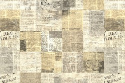 Newspaper paper grunge aged newsprint pattern background. Vintage old newspapers template texture. Unreadable news horizontal page with place for text, images. Yellow beige brown color art collage.
