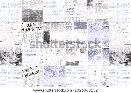 Newspaper paper grunge aged newsprint pattern background. Vintage old newspapers template texture. Unreadable news horizontal page with place for text, images. Black gray white color art collage. Foto stock ©