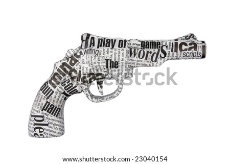newspaper pistol isolated on white