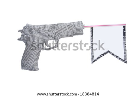 newspaper pistol with flag isolated on white background. fake