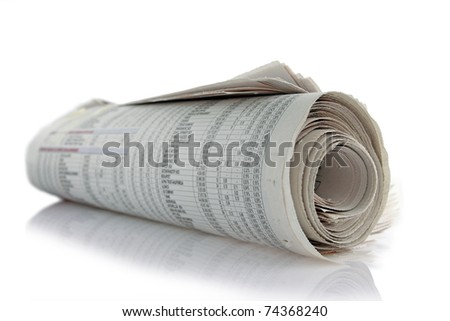 newspaper roll with reflection on white
