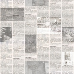 Newspaper seamless pattern with old unreadable text and images. Vintage blurred paper news texture square background. Textured page. Gray beige collage. Front top view.