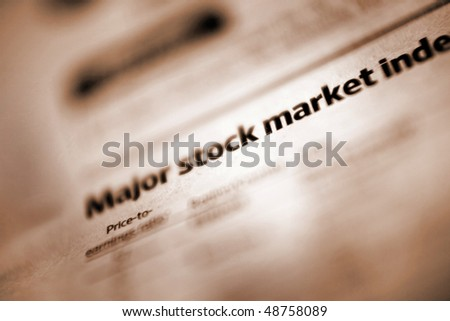 Newspaper section of the stock market index. Shallow depth of field
