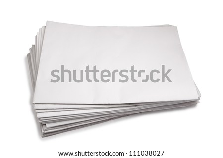 Newspaper stack , Isolated on white
