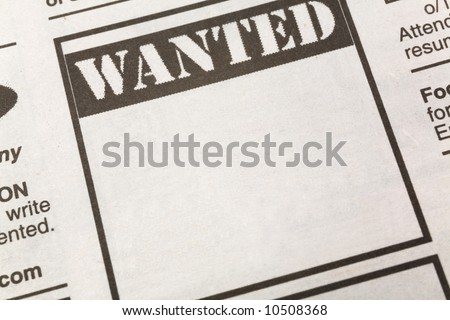 newspaper Wanted ad, Employment concept - stock photo