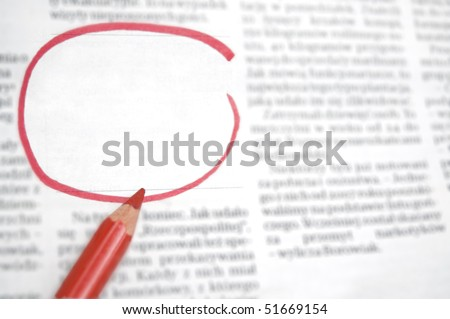 Newspaper with blank space for information