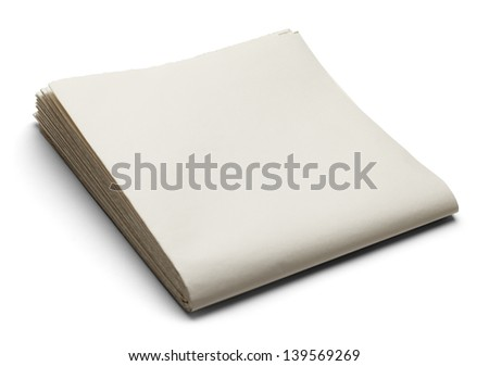 Newspaper with Copy Space Isolated on White Background.