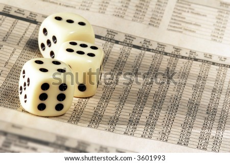 Newspaper with German Stock Market and dice