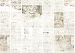 Newspaper with old unreadable text. Vintage grunge blurred paper news texture horizontal background. Textured page. Gray collage. Space for text.