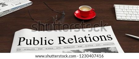 Newspaper with public relations headline lies on a desk as a PR and communication concept (3D Rendering) Stockfoto ©