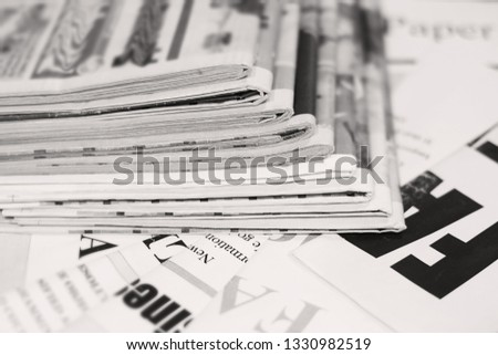 Newspapers and Magazines. News Pages and Tabloid Journals, Business Papers with Headlines and Articles                   #1330982519