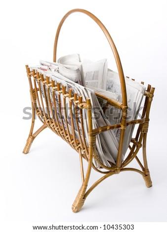 Newspapers in rack