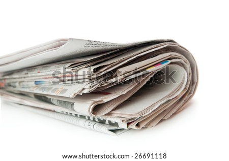 newspapers over white background