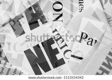 Newspapers with headlines and articles scattered on horizontal surface, background texture                                           #1113554342