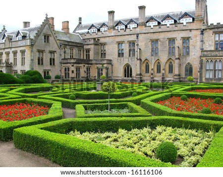 Newstead Abbey and spanish garden,Nottingham UK