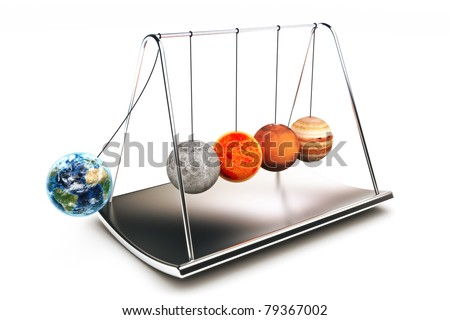 Newton balls concepts with planets ,isolated on a white background, 300 D.P.I