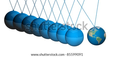 Newton cradle balancing with earth balls over white