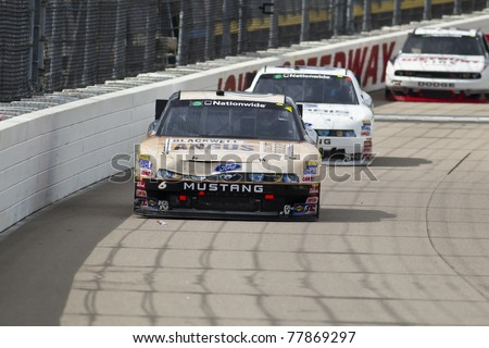 NEWTON, IA - MAY 22, 2011:  Ricky Stenhouse, Jr. (6) holds off the field to win The Inaugural Iowa John Deere Dealers 250 race at the Iowa Speedway in Newton, IA on May 22, 2011.