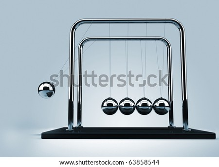 Newton's cradle - this is a 3d render illustration