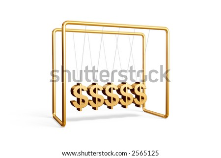Newton's cradle with dollar symbols isolated on a white background