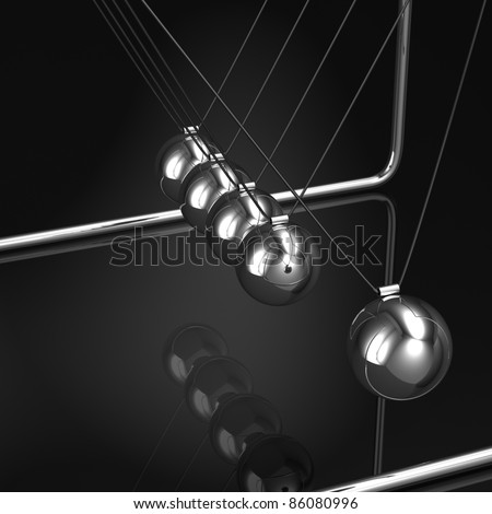 Newton's cradle, with five silver balls. Black background