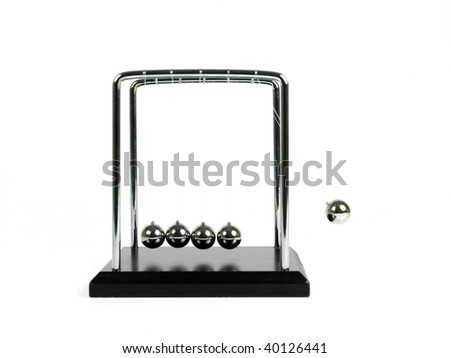 Newtons Cradle isolated against a white background
