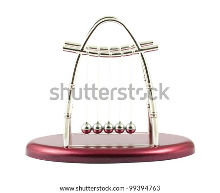Newtons cradle isolated on a white background