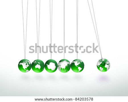 Newtons Cradle Pendulum Lead Ball Masked In Map Of World Other In Continents, World Cracked