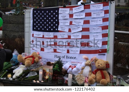 NEWTOWN, CONNECTICUT., USA-DEC 16: Sandy Hook Elementary School shooting. Flag of Honor, December 16, 2012 in Newtown, Connecticut, USA