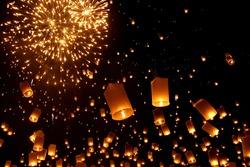 Newyear balloon traditional lantern yeepeng at night  , Chiangmai , Thailand