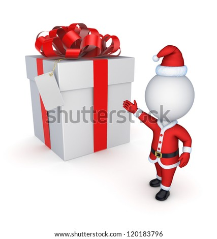 NewYear's gift.Isolated on white background.3d rendered.