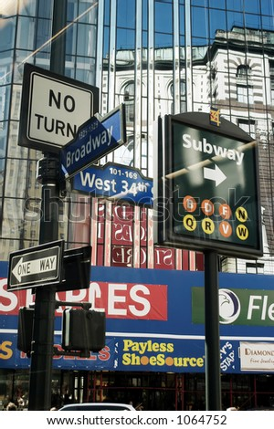 Newyork - Broadway Intersection sign boards