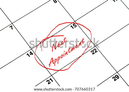 Next Appointment Circled on A Calendar in Red