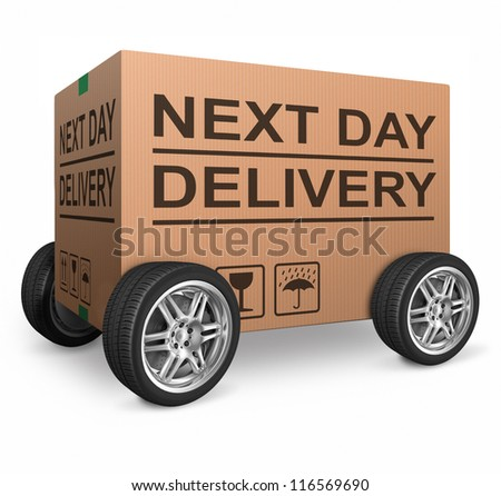 next day delivery cardboard box with text icon for web shop package fast shipping of internet order ecommerce