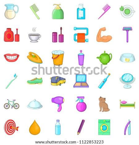 Next day icons set. Cartoon set of 36 next day icons for web isolated on white background