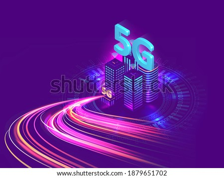 Next generation 5G highspeed internet connection- 3d image Stock photo ©