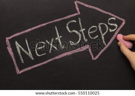 Next Steps - Chalkboard with arrow on black background