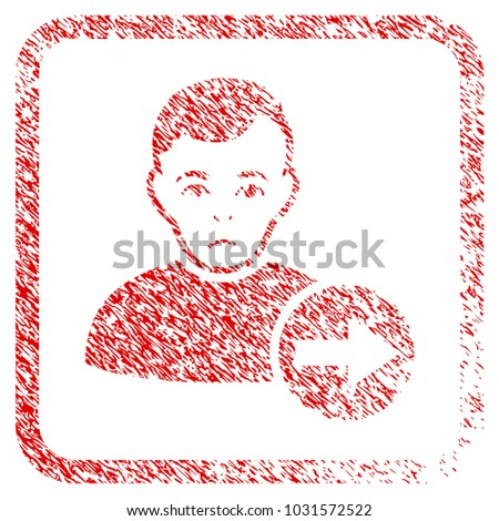 Next User rubber seal stamp imitation. Person face has sorrow sentiment. Scratched red sticker of next user. Icon symbol with grunge design and unclean texture inside rounded rectangle.