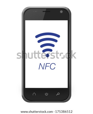 NFC near field communication on smartphone in iphone style for mobile payment