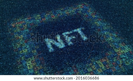 NFT currency. Animation. Cryptocurrency of future in cyberspace. Glowing electronic particles form NFT inscription on neon cyber field