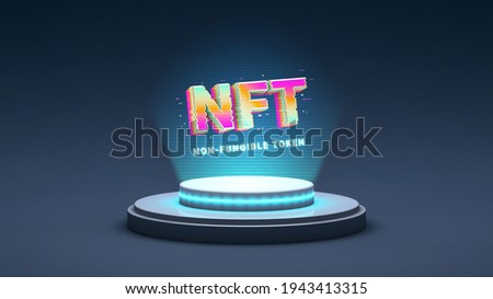 NFT non fungible token, crypto art in 3D rendering illustration. Platform showing NFT cryptoart hologram. Virtual art and galleries using blockchain technology concept