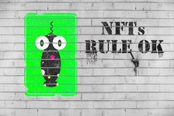 NFT non-fungible token graffiti on wall blockchain technology to create unique digital items for crypto art, crypto-collectibles and crypto-gaming.
