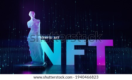 NFT non fungible tokens crypto art on colorful abstract background. glowing lowpoly statue  venus with chip Pay unique collectibles in games or art. 3d render of NFT crypto art collectibles concept.