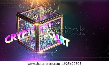 NFT non fungible tokenscrypto art on colorful abstract background. Pay for unique collectibles in games or art. 3d render of NFT crypto art collectibles concept illustration