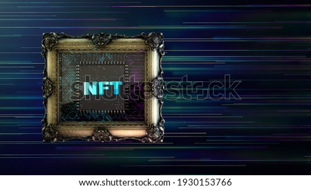 NFT non fungible tokenscrypto art on colorful abstract background. Pay for unique collectibles in games or art. 3d render NFT crypto art collectibles concept
