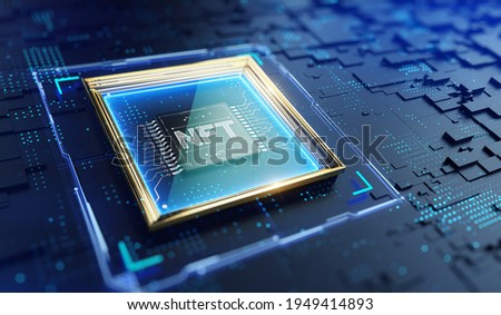 NFT nonfungible tokens concept - NFT word in picture frame on abstract technology background. 3d rendering