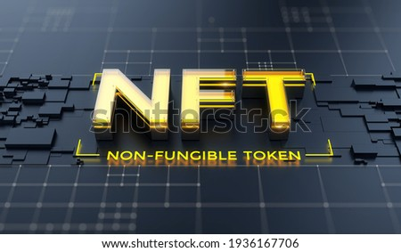 NFT nonfungible tokens concept on dark background - NFT word on abstract technology surface. 3d rendering
