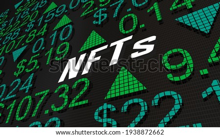 NFTs Non-Fungible Tokens Buy Sell Exchange Market Prices 3d Illustration